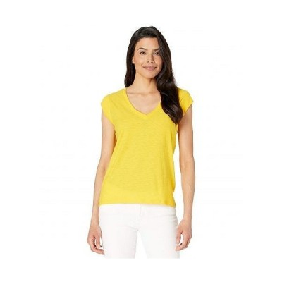 Lilla P リラP レディース 女性用 ファッション Tシャツ Rib Trim V-Neck Superfine Slub Tee - Lemon