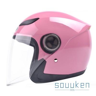 ハーフヘルメット バイク用 男女兼用 シールド付き 強化ABS材質 耐久 耐衝撃 吸汗 通気孔付 安全対策 日焼け止め 四季兼用 軽量