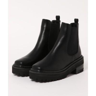 ブーツ スクエアワークミリタリーサイドゴアショートブーツ