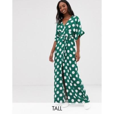 グラマラス レディース ワンピース トップス Glamorous Tall maxi dress with kimono sleeves and tie waist in polka dot