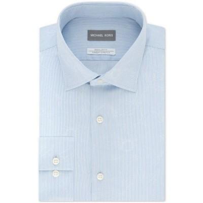 マイケルコース シャツ トップス メンズ Men's Classic/Regular-Fit Non-Iron Airsoft Performance Stretch Leaf-Print Stripe Dress Shirt Light Blue