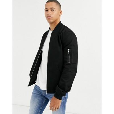 エイソス ジャケット ジャンパー ブルゾン メンズ ASOS DESIGN ma1 bomber jacket in black エイソス ASOS ブラック 黒