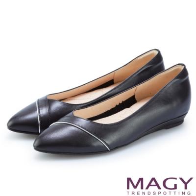 MAGY 真皮親膚舒適尖頭 女 平底鞋 黑色