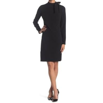 カルバンクライン レディース ワンピース トップス Tie Neck Long Sleeve Dress BLACK