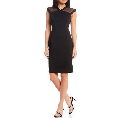カルバンクライン レディース ワンピース トップス Illusion Cap Sleeve Scuba Sheath Dress Black