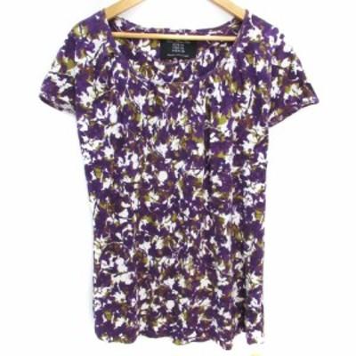 【中古】ザラ ベーシック カットソー Tシャツ 半袖 ラウンドネック 総柄 M 紫 白 パープル ホワイト /FF22 レディース