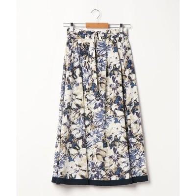 スカート 大柄フラワースカート