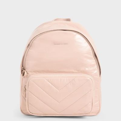 キルテッド ダブルジップバックパック / Quilted Double Zip Backpack (Nude)