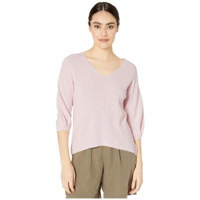 マイケルスターズ ニット&セーター アウター レディース Grace 3/4 Sleeve V-Neck Pullover Cotton Sweater Ballet