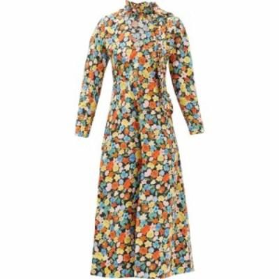 ガニー Ganni レディース ワンピース ワンピース・ドレス Ruffled floral-print organic cotton-poplin dress Yellow