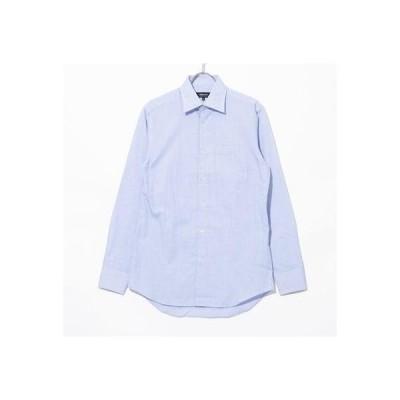 コムサイズム COMME CA ISM 《イージーケアー・抗菌防臭加工》 ブルーバリエーション セミワイドカラー 長袖シャツ (ホワイトチェック)