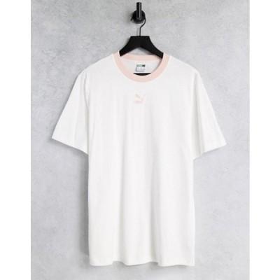 プーマ メンズ シャツ トップス Puma Classics logo ringer t-shirt in white