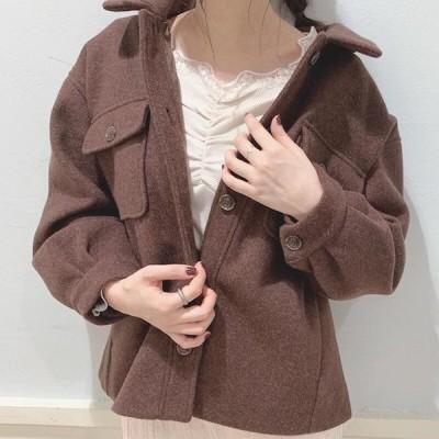 CPOジャケット 無地 ゆったり オーバーサイズ 大人可愛い カジュアル フェミニン こなれ感 冬春 お出かけ デート 女子会