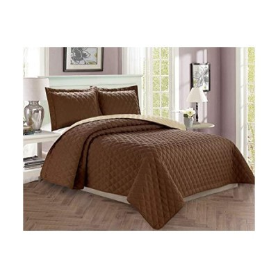 Elegant Comfort Luxury 2-Piece Bedspread Coverlet Diamond Design Quilted Set with Sham - All Season Heavy Weight- Hypoallergenic- Wrinkle &