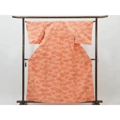 【中古】リサイクル紬 / 正絹オレンジ地単衣真綿紬着物 (古着 中古 紬 リサイクル品)