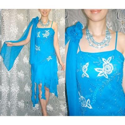 パーティードレス [豪華な刺繍と大胆なカットの裾フリルドレス] ショール付き AA-006