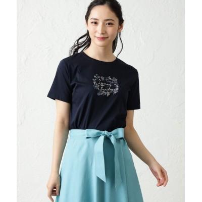【アマカ】 ◆◆NOZOMI YUASAコラボロゴ半袖Tシャツ レディース ブラックネイビー 38 AMACA