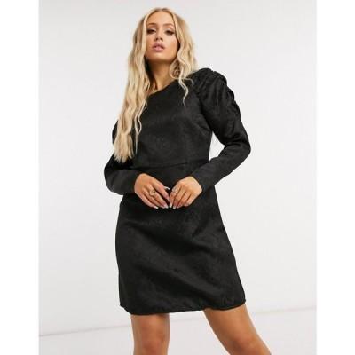 ピーシーズ Pieces レディース ワンピース ミニ丈 ワンピース・ドレス Mini Dress With Exaggerated Sleeves In Black Jacquard ブラック