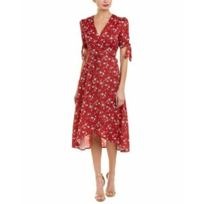Red  ファッション ドレス Avantlook Floral Wrap Dress M Red