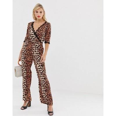 リクオリッシュ レディース ワンピース トップス Liquorish wrap front jumpsuit in leopard print with lace trim sleeve detail