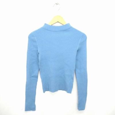【中古】ジュエルチェンジズ Jewel Changes アローズ ニット セーター ハイネック 無地 シンプル ウール混 長袖 青 ブルー /TT24 【ベクトル 古着】
