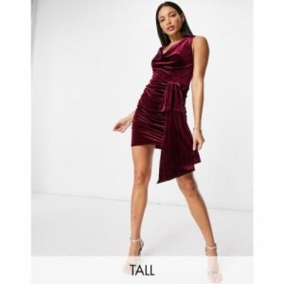 ジェイデッドローズ Jaded Rose Tall レディース ワンピース ミニ丈 ワンピース・ドレス Exclusive Velvet Mini Dress With Cowl And Tra