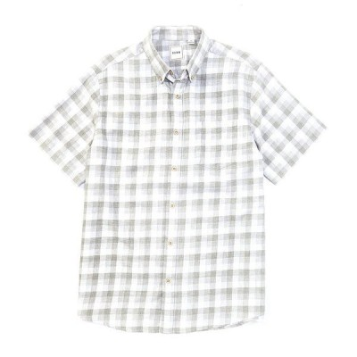 ロウン メンズ シャツ トップス Short-Sleeve Heather Gingham Sportshirt White