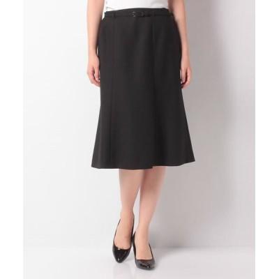 LAPINE BLANCHE/ラピーヌ ブランシュ ベルト付きスカート/ウールピーチジョーゼット ブラック 38