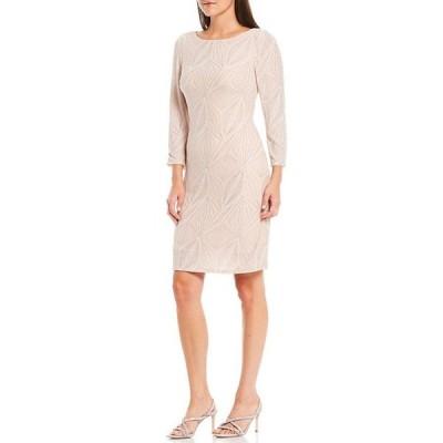 ジェシカハワード レディース ワンピース トップス 3/4 Sleeve Glitter Metallic Knit Shift Dress