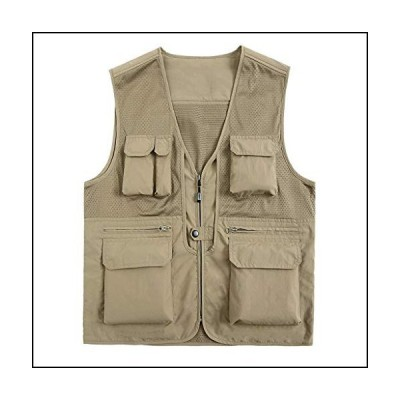Waistcoats Vest Men's Spring and Summer Thin Vest Middle-Aged Multi-Pocket Pocket Fishing Reporter Photographer ZHJING (Color : Beige, Size