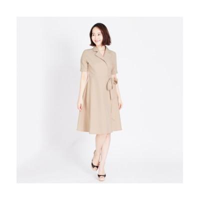 MARTHA(マーサ) ショートスリーブテーラードカラーラップワンピース (ワンピース)Dress