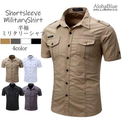 シャツ メンズ 半ミリタリーシャツ 袖 ワークシャツ カジュアルシャツ トップス アウトドア ミリタリー父の日