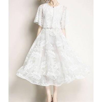 ドレス 【パーティー・結婚式・二次会・お呼ばれ】透かしリーフ柄・ケープ風ドレス