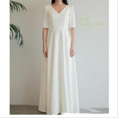 ロングドレス ワンピース ウェティグドレス 安い Aラインドレス 結婚式 前撮り おしゃれ 発表会 花嫁 二次会 大きいサイズ 挙式 パーティードレス