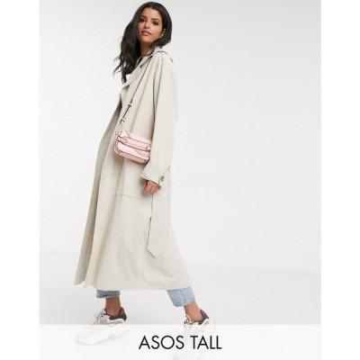 エイソス ASOS Tall レディース トレンチコート アウター ASOS DESIGN Tall luxe oversized linen trench coat in cream クリーム