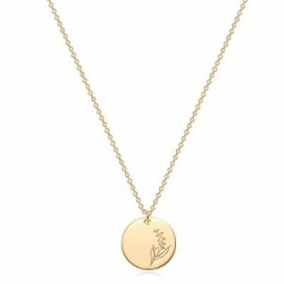 MYEARS Women Coin Necklace Gold Birth Month May Lily Flower Bouquet Disc Round Medal Pendant Engraved Floral 14K Gold Plated Com