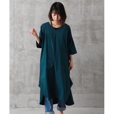 浅Vネック裾タックふんわり7分袖ワンピース (ワンピース)Dress