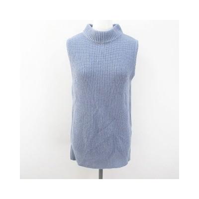 【中古】ドゥドゥ DOUDOU ノースリーブ ニット セーター ベスト FREE 青系 ブルー 日本製 毛 ウール 無地 レディース 【ベクトル 古着】