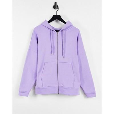 エイソス レディース パーカー・スウェット アウター ASOS DESIGN super oversized zip through hoodie in lilac