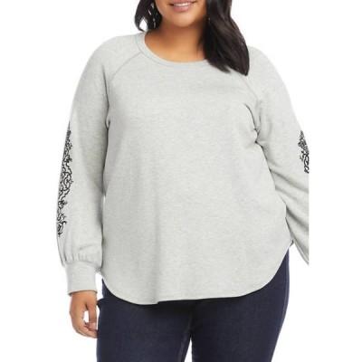 カレンケーン レディース ニット・セーター アウター Plus Size Flocked Sleeve Sweater