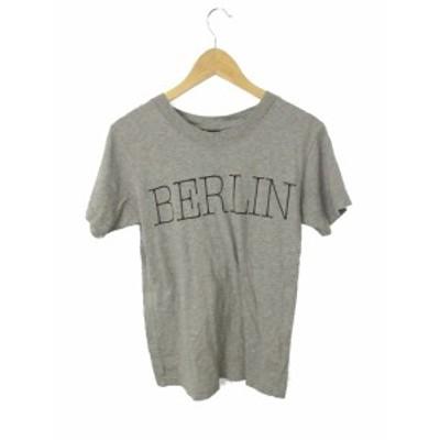 【中古】マウジー moussy Tシャツ カットソー ロゴ 半袖 FREE グレー /RK20 レディース