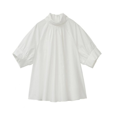 <CLANE(Women)/クラネ> STAND UP COLLAR GATHER TOPS WHITE【三越伊勢丹/公式】