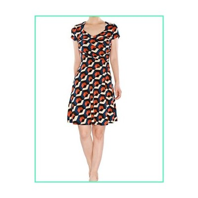 May&Maya Women's Vibrant Colors Pattern Fit Flare Short Sleeves Dress with Ruching Bodice Sweetheart Neckline (Print, XS)並行輸入品