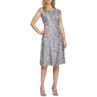 アレックスイブニングス レディース ワンピース トップス Illusion Neck Rosette A-Line Midi Dress Dove
