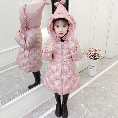 中綿コート キッズ 子供服 女の子 冬服 ート アウター 厚手 ダウン風コート キッズコート ロングコートかわいいジャケット フード付き おしやれ 暖かい 防寒