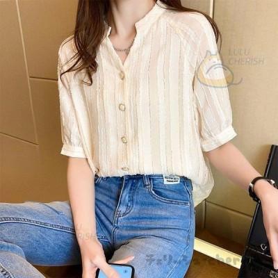 ブラウス レディース きれいめ 40代 春秋 上品  Vネックブラウス 白シャツ 半袖 ゆったり オシャレ 韓国風 大人 30代 50代