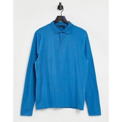 エイソス メンズ シャツ トップス ASOS DESIGN organic long sleeve polo in blue