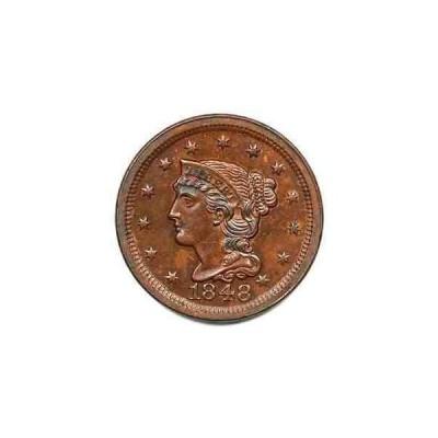 金貨 銀貨 硬貨 シルバー ゴールド アンティークコイン 1848 N-33 R-5 CC#7 EDS Braided Hair Large Cent