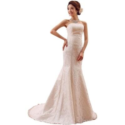 ウエディングドレス マーメイドライン ベアトップ 引き裾 ロングトレーン レースアップ レディース ホワイト