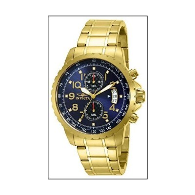 Invicta Men's 13785 Specialty Chronograph Dark Blue Dial 18k Gold Ion-Plated Stainless Steel Watch[並行輸入品]